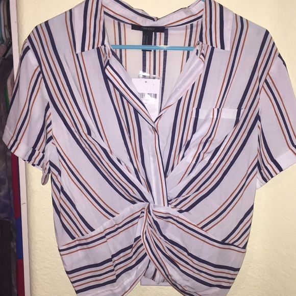 Forever 21 Tops - Semi-Cropped Striped Wrap Tee